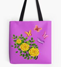Coloured butterflies fluttering around yellow roses Tote Bag
