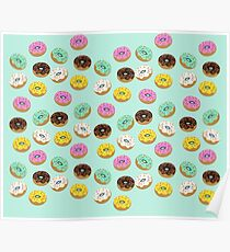 cool donuts icons- blue Poster