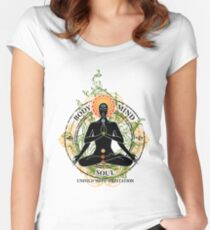 Yoga : Mind Body and Soul KUNDALINI Women's Fitted Scoop T-Shirt