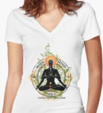 Yoga : Mind Body and Soul KUNDALINI Women's Fitted V-Neck T-Shirt