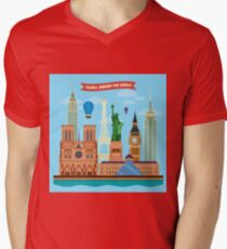 Traveling Around the World Banner with Famous Architectural Buildings from Europe and USA Mens V-Neck T-Shirt