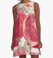 Red Pomegranate Oil Painting A-Line Dress