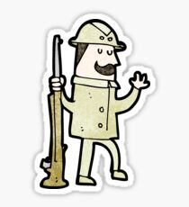 cartoon victorian hunter Sticker