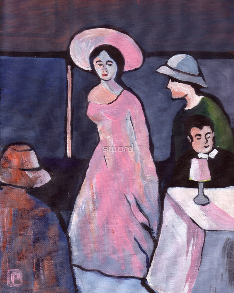 Lady in  pink (from my original acrylic painting) by sword