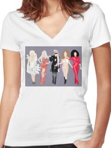 Gaga's eras. Women's Fitted V-Neck T-Shirt