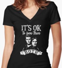 Love Them Both. Katherine's quote. Women's Fitted V-Neck T-Shirt