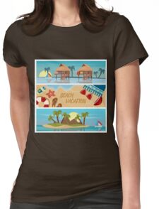 Beach Vacation Horizontal Banners Set with Bungalows and Tropical Island Womens Fitted T-Shirt