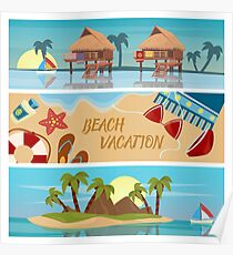 Beach Vacation Horizontal Banners Set with Bungalows and Tropical Island Poster