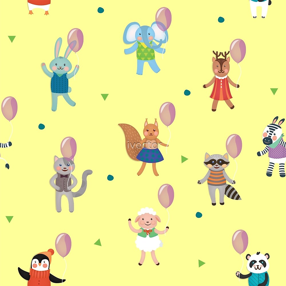 Birthday Celebration Seamless Pattern with Cute Animals by ivector