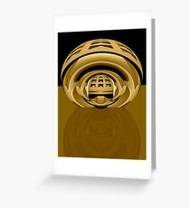 3d abstract techno brass Greeting Card