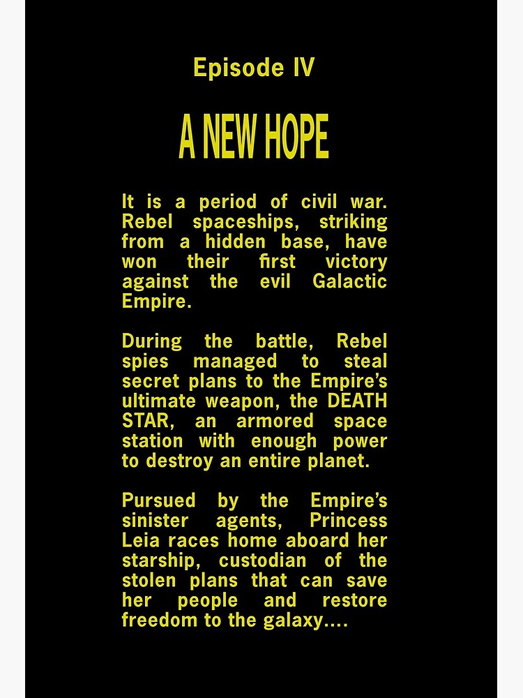 Episode Iv Opening Crawl Text Art Board Print By Unconart Redbubble