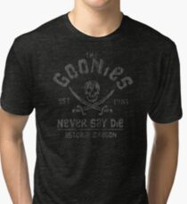 The Goonies - Never Say Die - Grey on Black Tri-blend T-Shirt