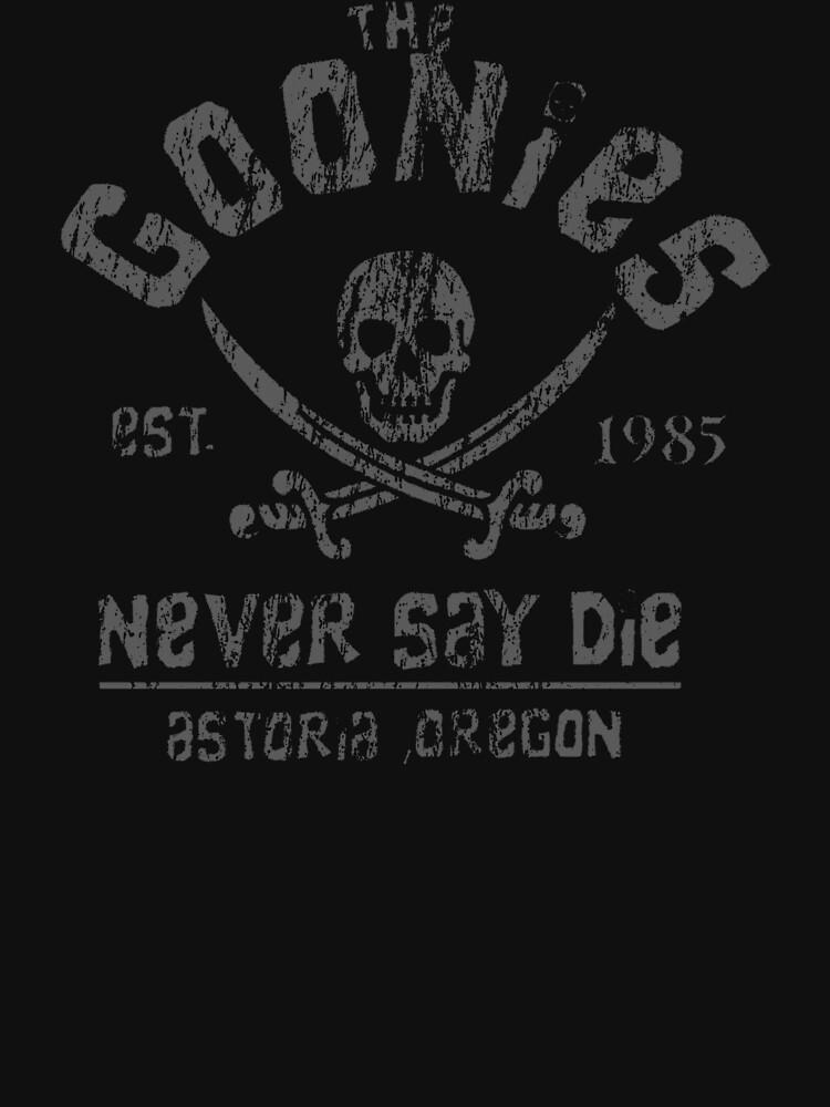The Goonies - Never Say Die - Grey on Black by UnconArt
