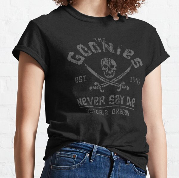 The Goonies - Never Say Die - Grey on Black Classic T-Shirt