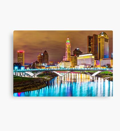 Skyline view of Downtown Columbus Ohio at Dusk Canvas Print