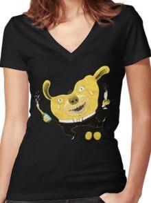 Good Times Golden Dog Celebration Women's Fitted V-Neck T-Shirt