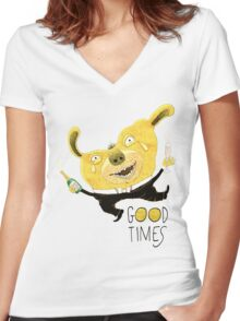 Good Times Golden Dog Celebration Women's Fitted V-Neck T-Shirt