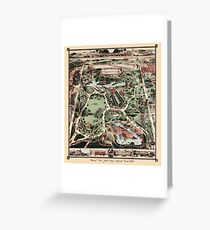 Antique map of NYC Central Park from 1860 Greeting Card