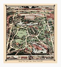 Antique map of NYC Central Park from 1860 Photographic Print