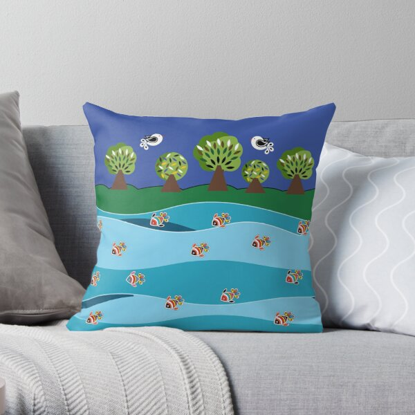 river and fish Throw Pillow