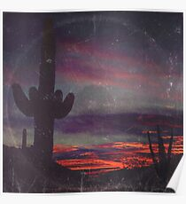 Darkness In The Desert - America As Vintage Album Art Poster
