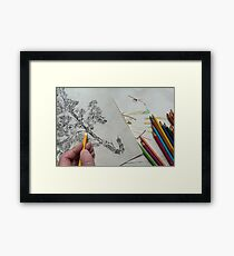 Hand holding Pencil Drawing Creative  Framed Print