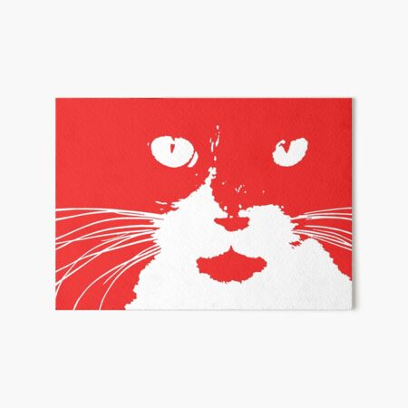 Cat Print/My Patch Abstract Graphic Cat Print Red and White – Jenny Meehan Design Art Board Print
