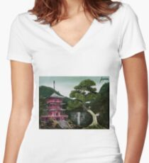 Japon Women's Fitted V-Neck T-Shirt