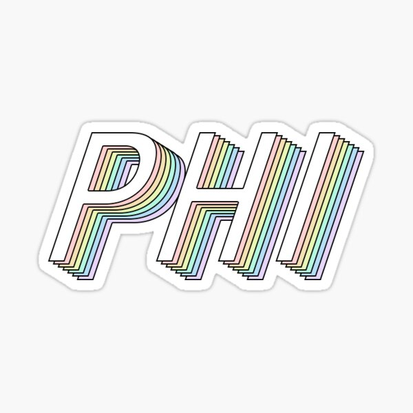 phi 3D rainbow greek letter Sticker