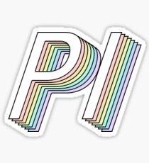 pi 3D rainbow greek letter Sticker