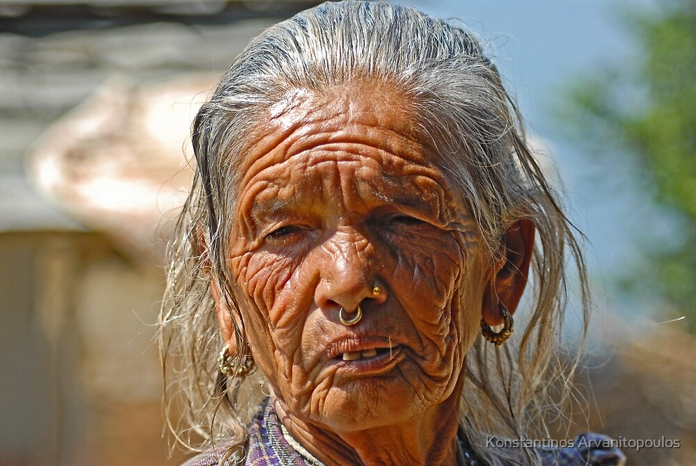 Aged Nepali woman by Konstantinos Arvanitopoulos