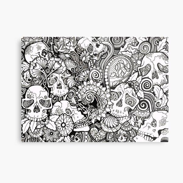 Skulls All Over Metal Print