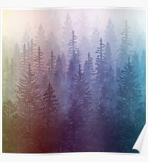 My Misty Secret Forest - colorful rainbow Poster