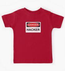 Danger Hacker - Warning Sign Kids Tee