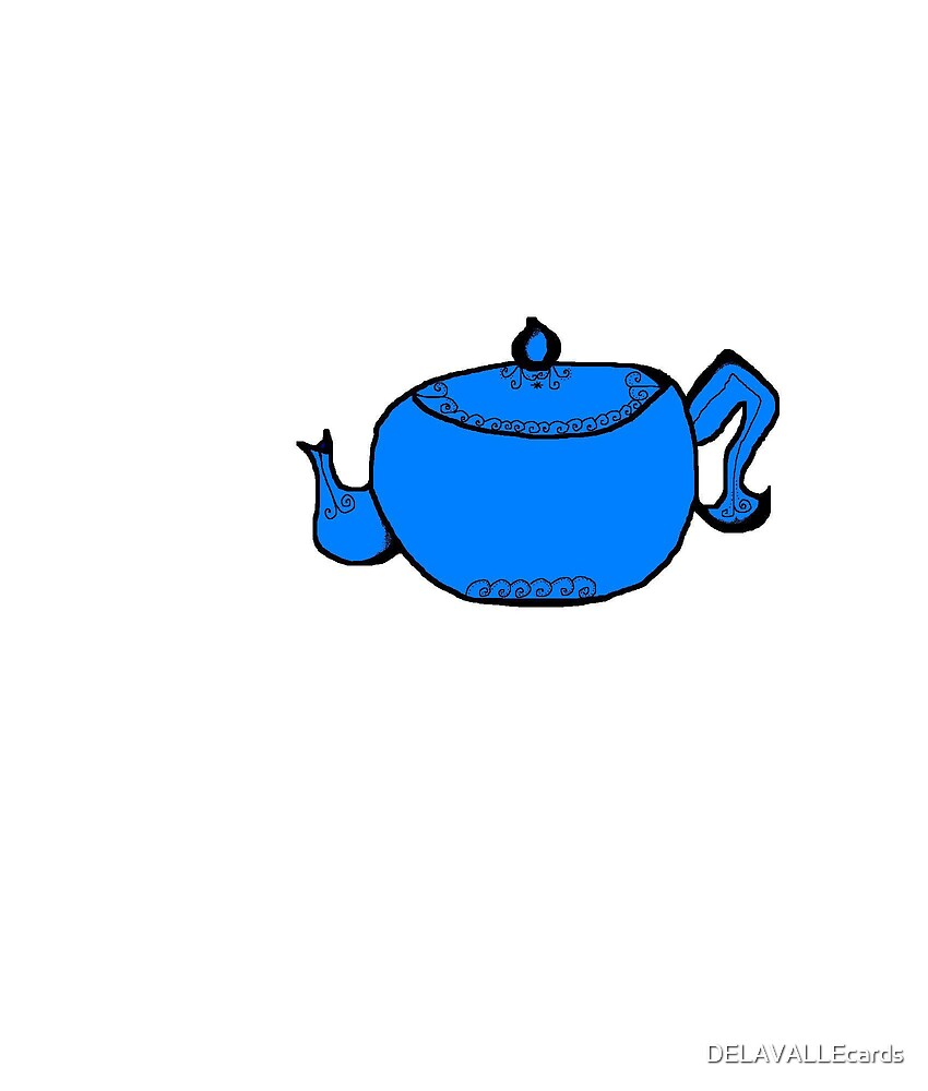 Blue Teapot by DELAVALLEcards