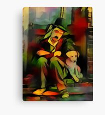 Chaplin with dog Canvas Print