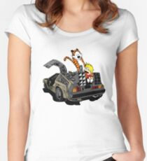 CALVIN AND HOBBES DELOREAN Women's Fitted Scoop T-Shirt