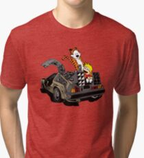CALVIN AND HOBBES DELOREAN Tri-blend T-Shirt