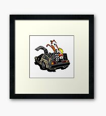 CALVIN AND HOBBES DELOREAN Framed Print