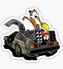 CALVIN AND HOBBES DELOREAN Sticker