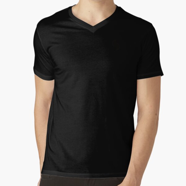Plain Colors with Black Semi Circles V-Neck T-Shirt