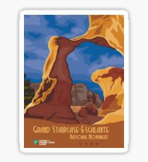 Vintage Travel Poster - Grand Staircase Escalante National Monument, Utah Sticker