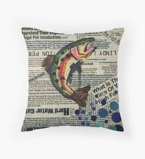 word rainbow trout Throw Pillow
