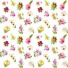 Orchids on White Repeat Pattern by Leonie Mac Lean