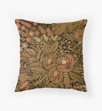 Watercolor .Black brown floral pattern .  Throw Pillow