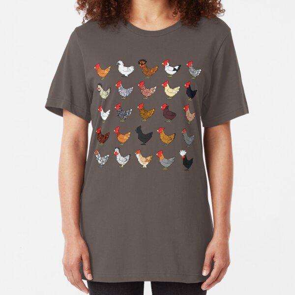 Chicken Breeds (captionless) Slim Fit T-Shirt