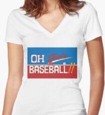 Oh! That's a Baseball!! JJBA Jojo's Bizarre Adventure Women's Fitted V-Neck T-Shirt