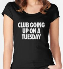 Club Going Up On A Tuesday [White] Women's Fitted Scoop T-Shirt