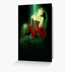 Young sexy woman in corset and fishnet stockings  Greeting Card