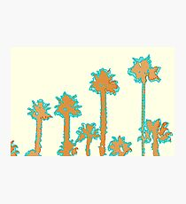 brown and blue palm trees with yellow background Photographic Print